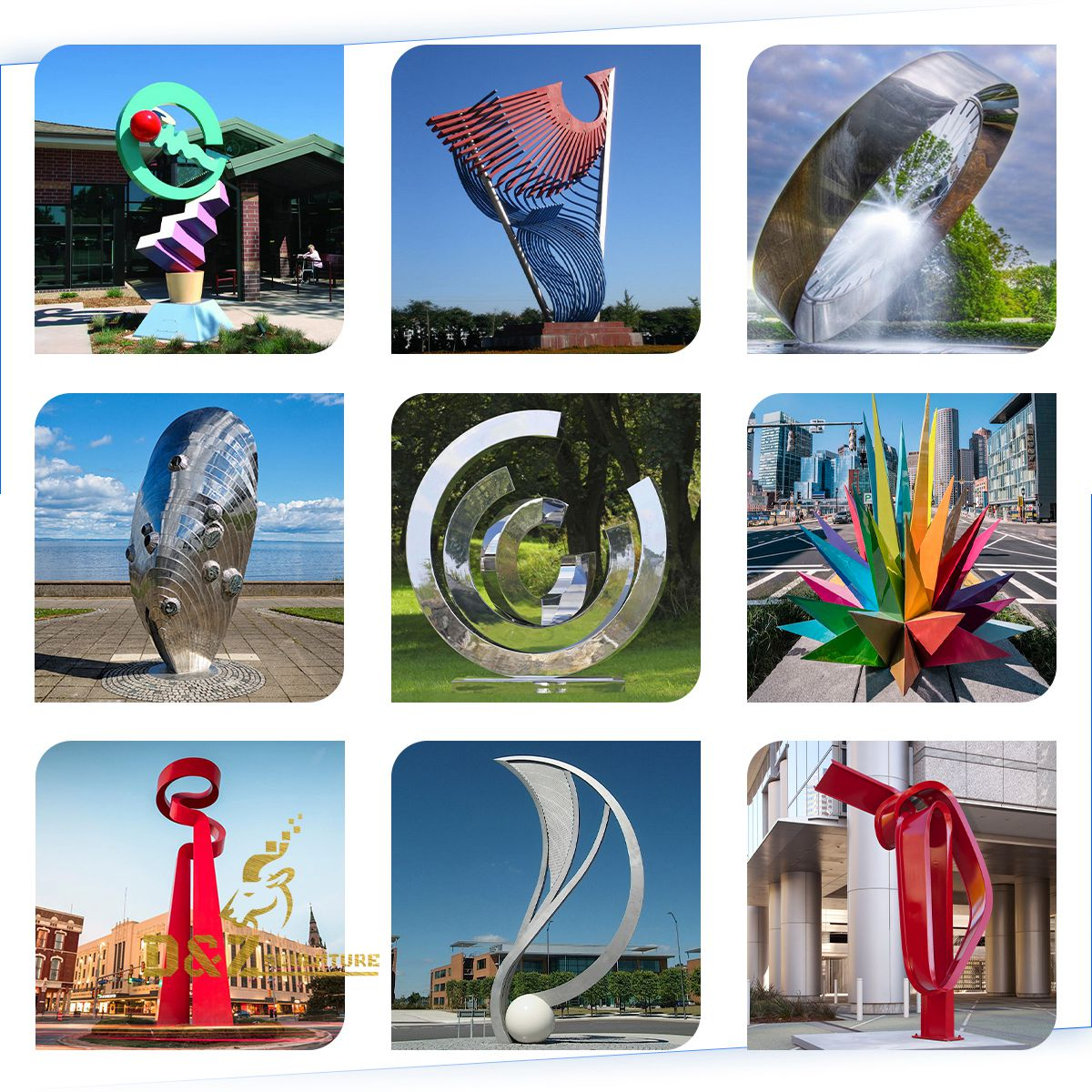 Stainless steel colorful sculptures