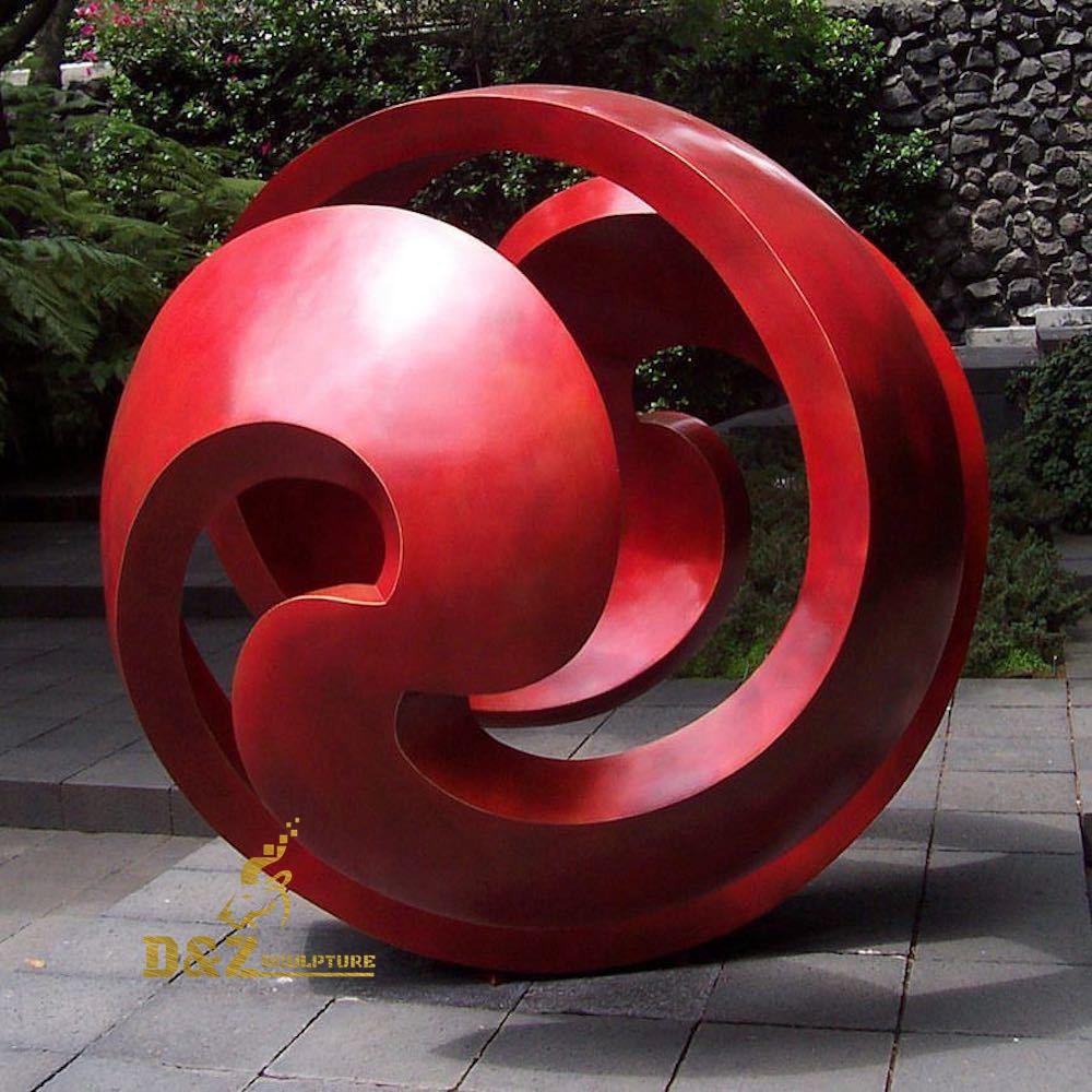 Red hollow ball sculpture