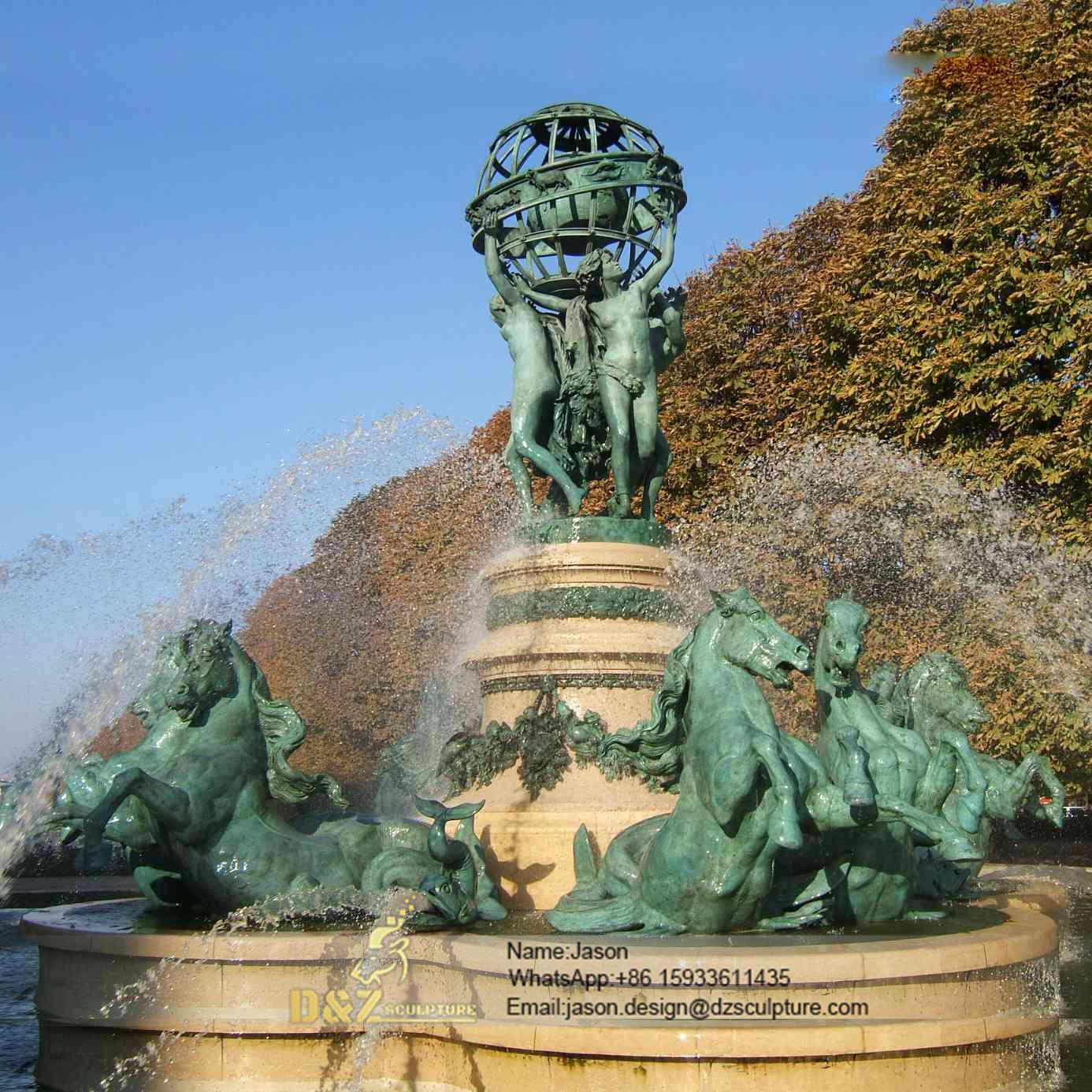Park bronze horses fountain