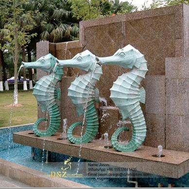 Bronze sea horse fountain