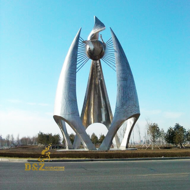 Stainless steel city sculpture