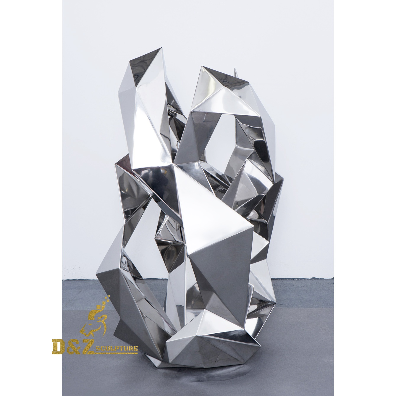 Abstract sculpture of stainless steel