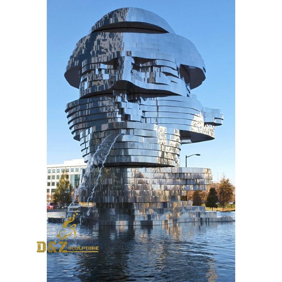 Abstract head fountain sculpture
