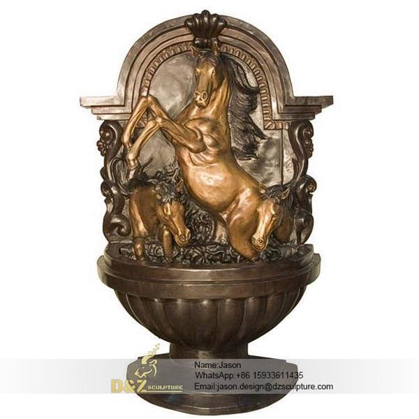 Bronze horse wall fountain