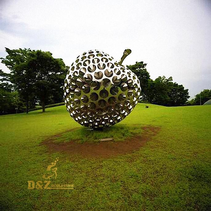 Stainless steel apple sculpture