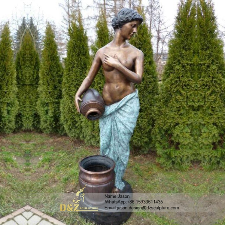 Bronze woman pouring fountain