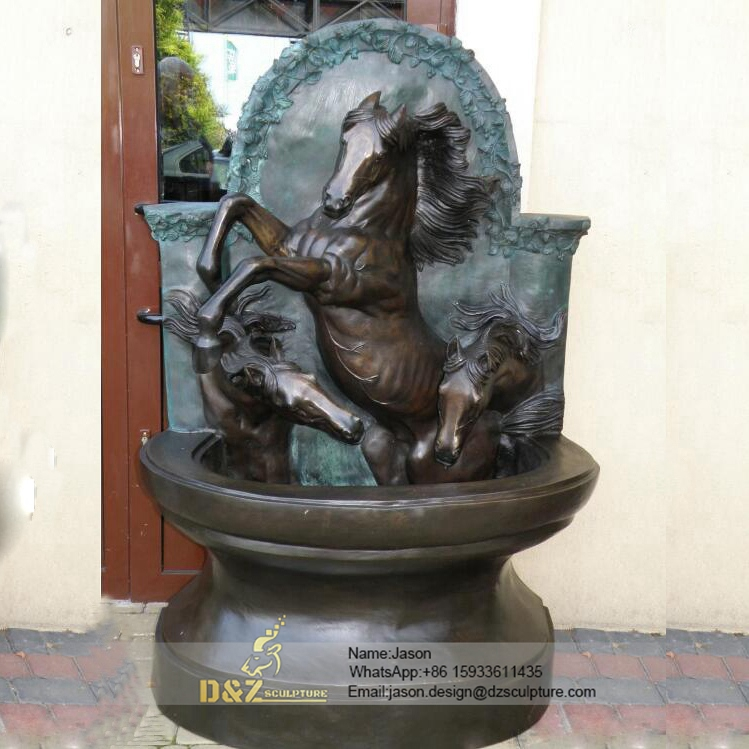 Bronze horses wall fountain
