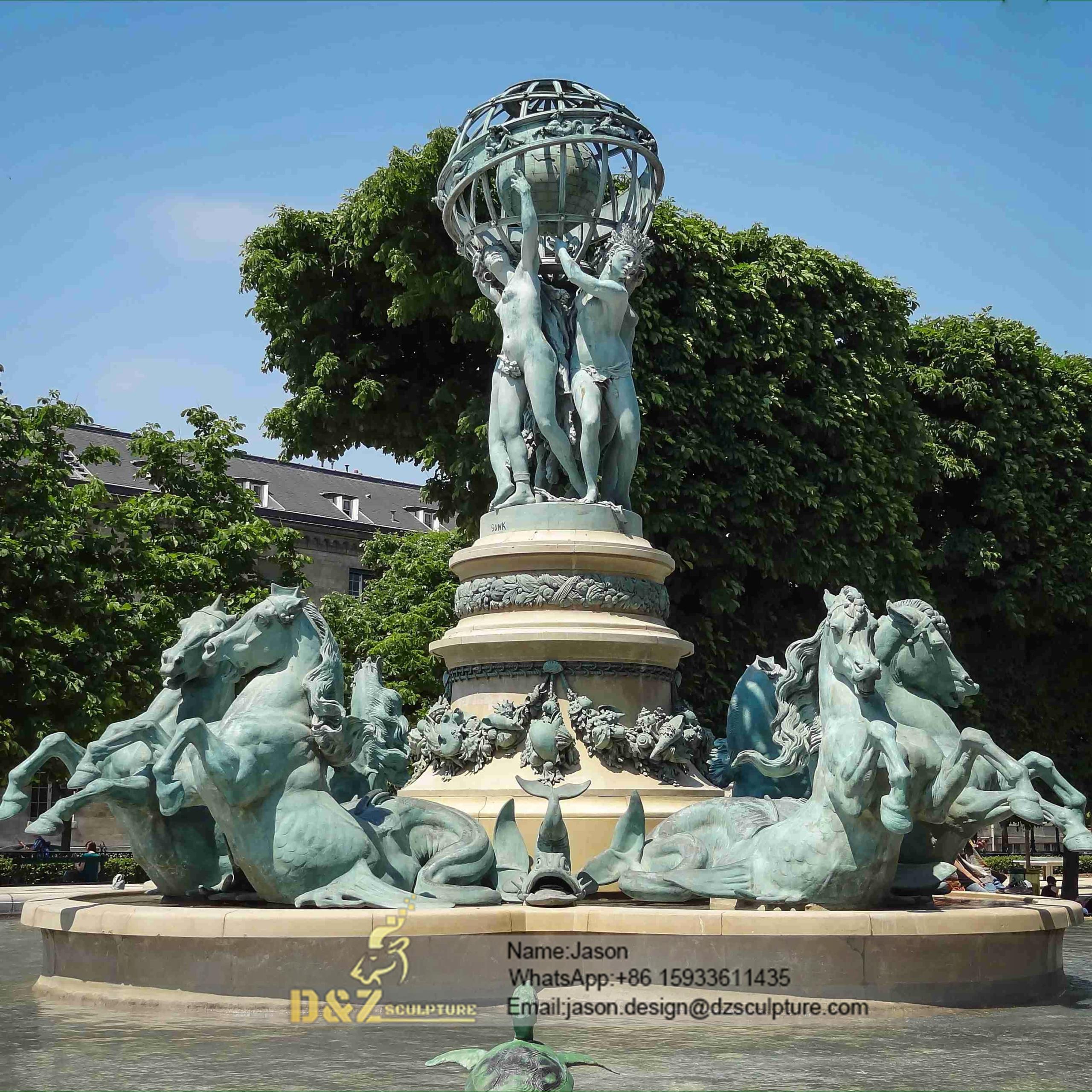Bronze outdoor horses fountain