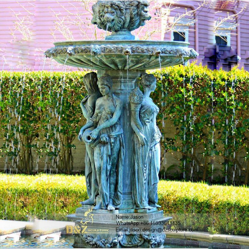 Park bronze women fountain
