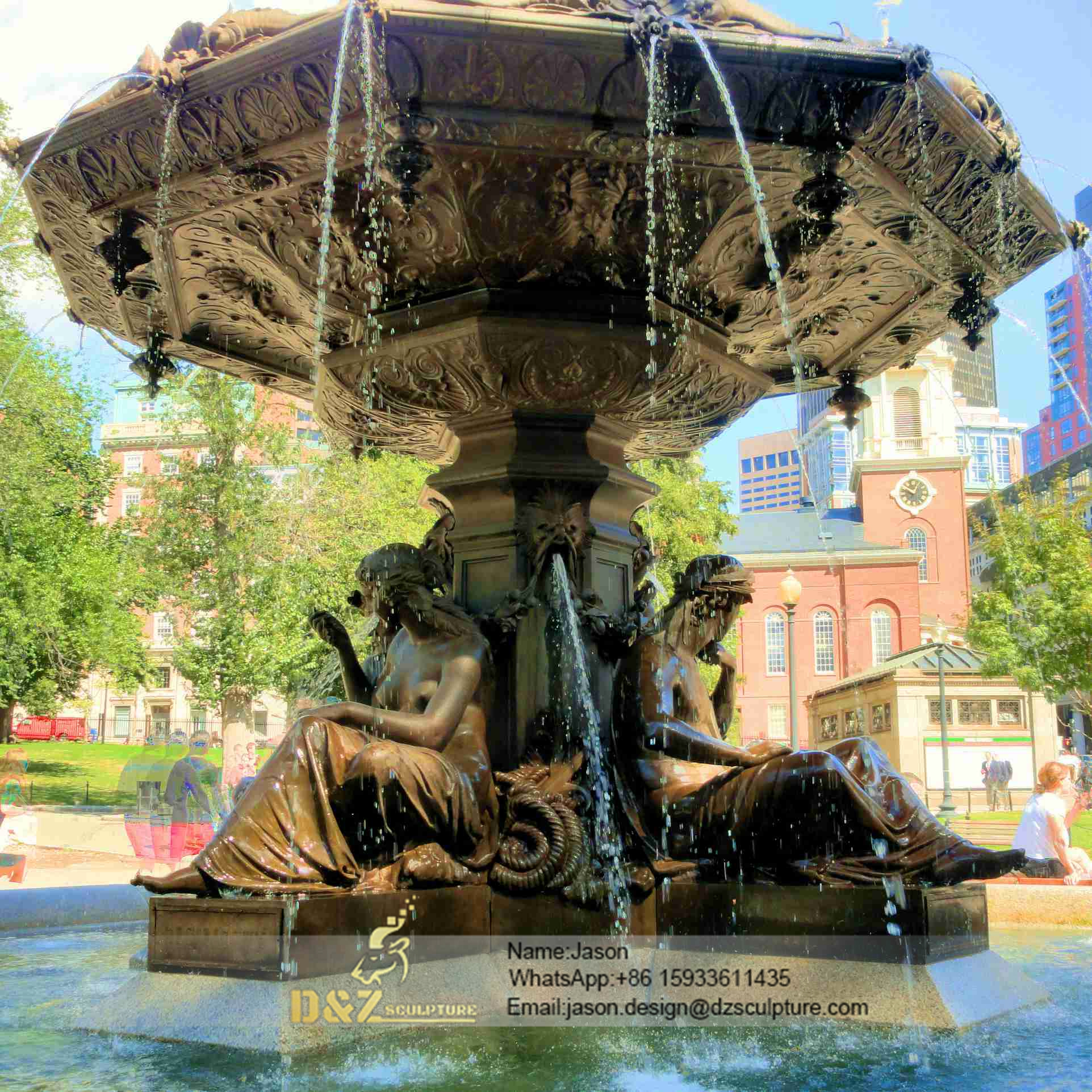 Ladies bronze fountain sculpture