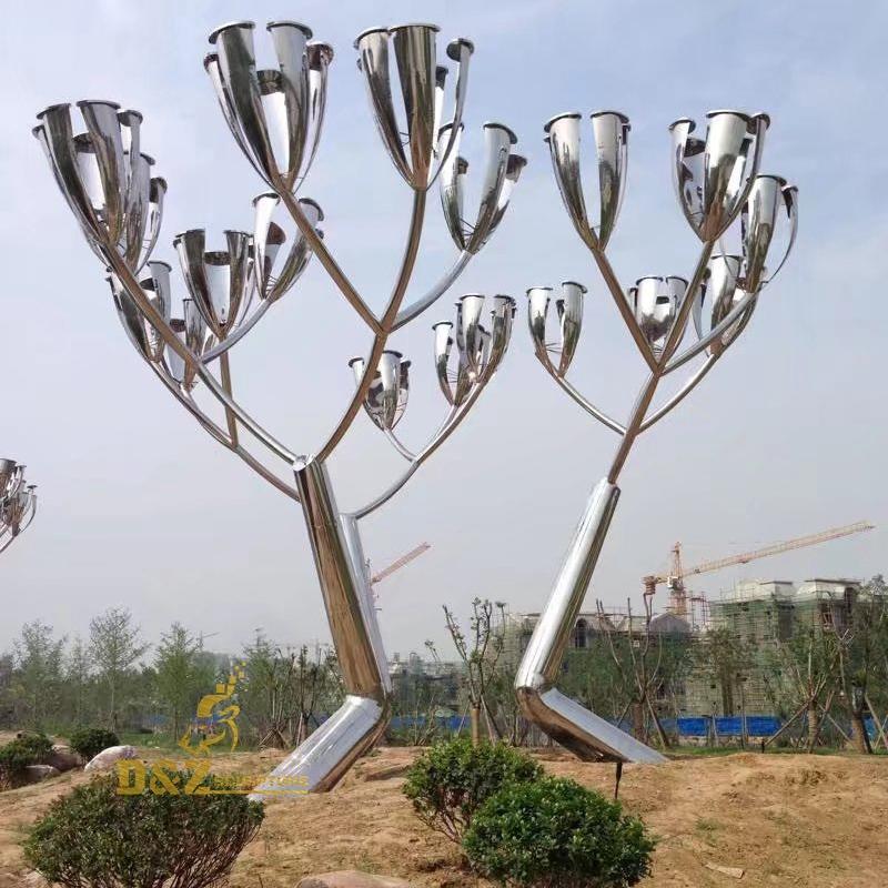 Stainless steel flowers sculpture
