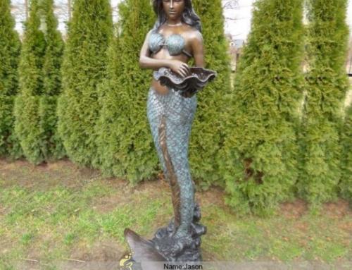 Bronze mermaid fountain