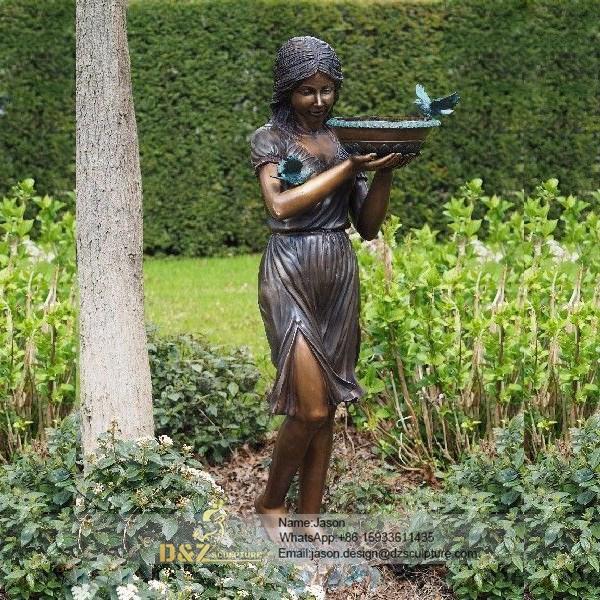 Bronze female fountain statue