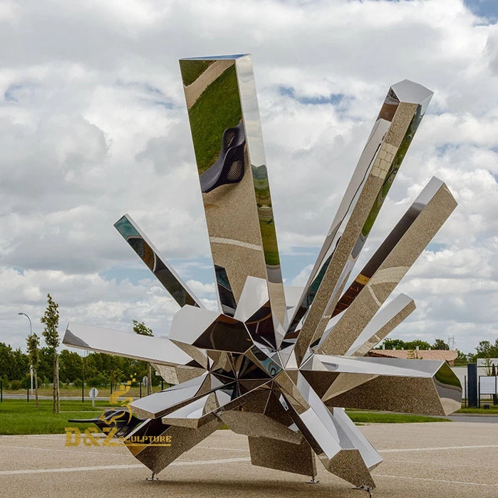 Crystal shaped stainless sculpture