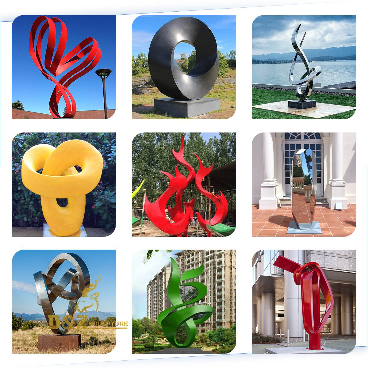 Various stainless steel sculptures