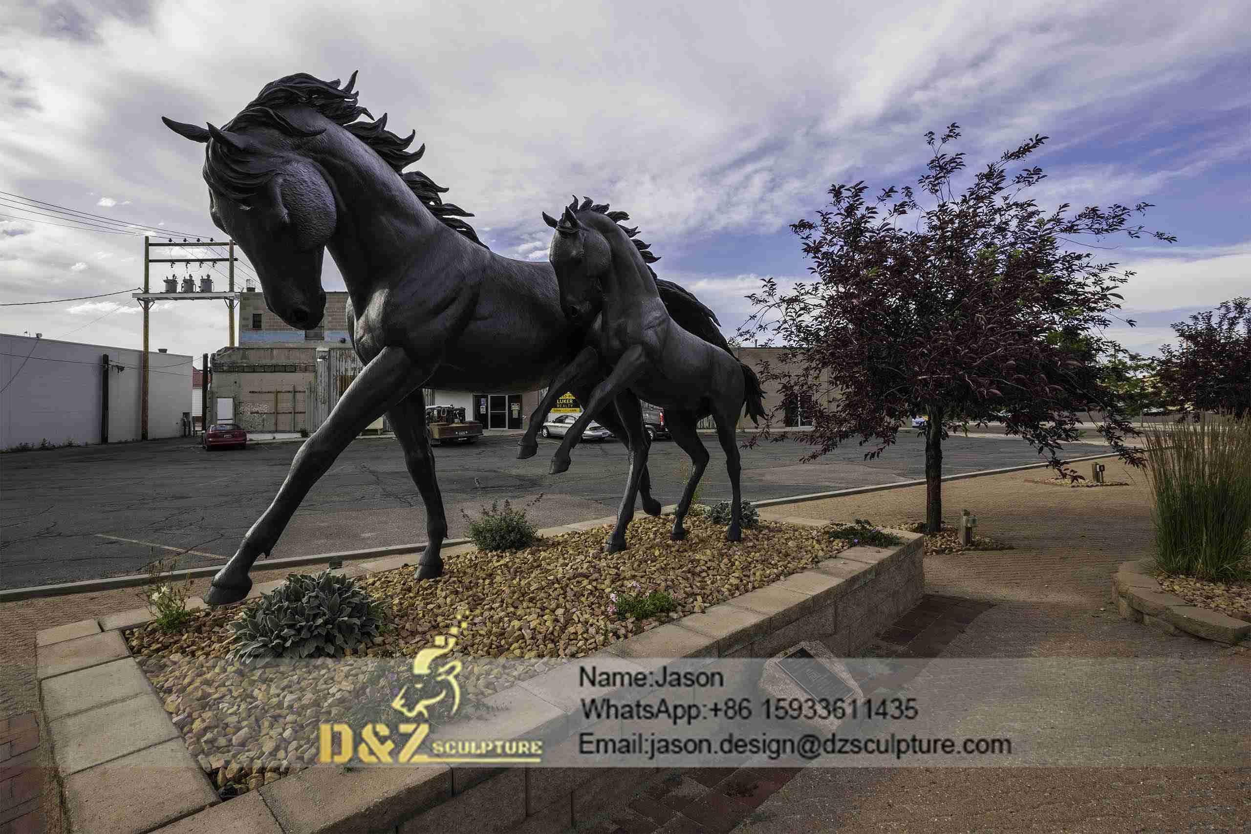 Bronze Two Horse Statue