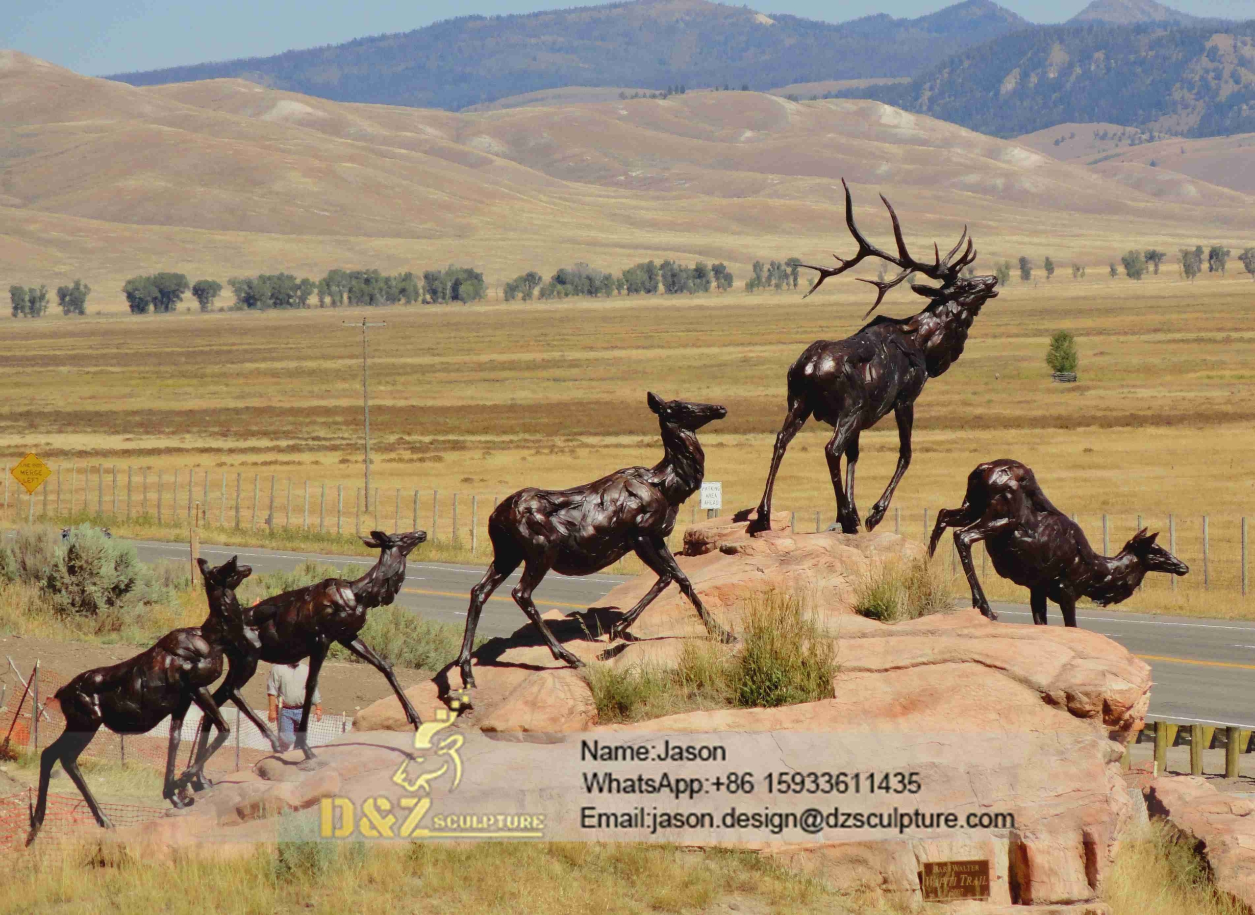 Animal group elk sculpture