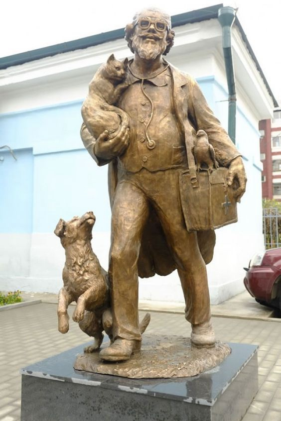 Modern Sculpture man with dog
