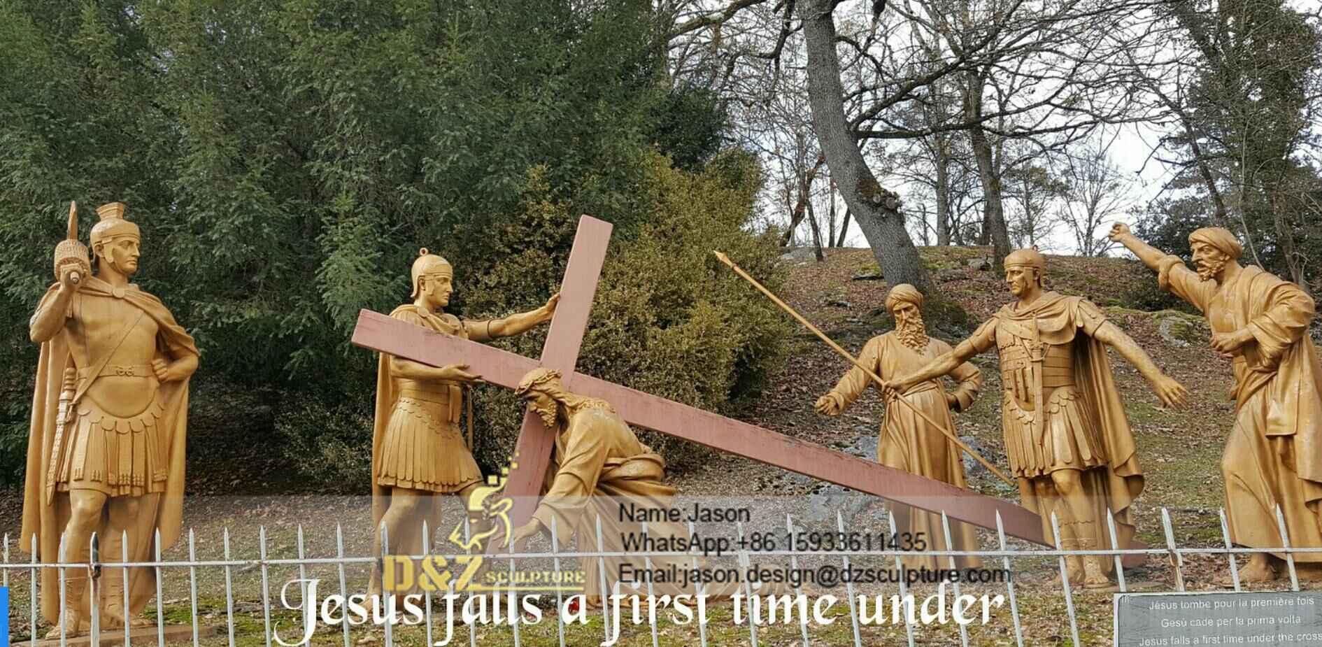 Jesus falls under the cross