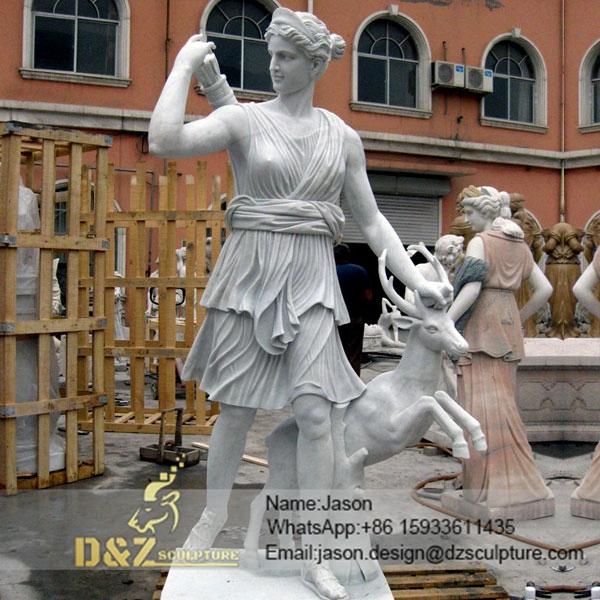 Diana statue with deer