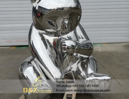 stainless steel panda statue