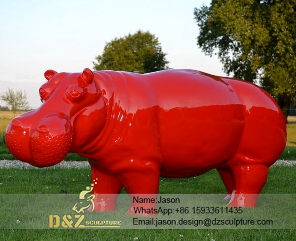 Red Hippo Sculpture