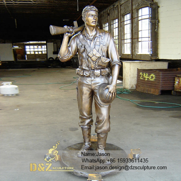 brass soldier memorial sculpture