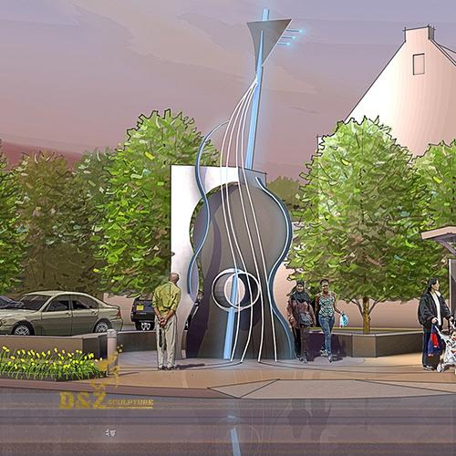 modern large guitar sculpture