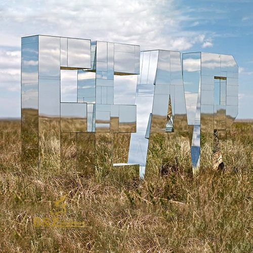 mirror polished letters sculpture