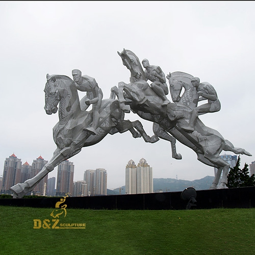 sculpture of horseman galloping