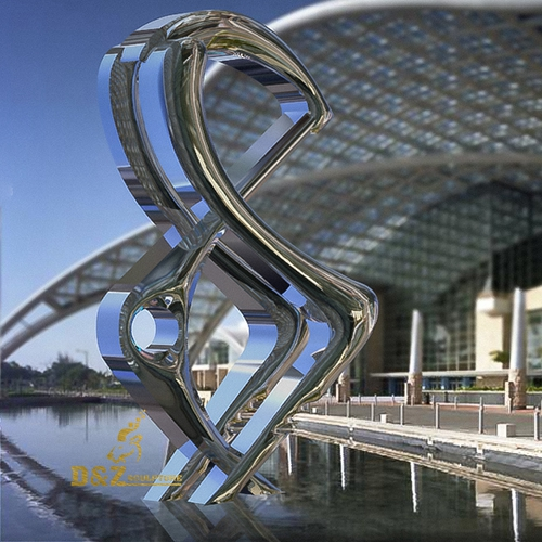 mirror polished waterside sculpture