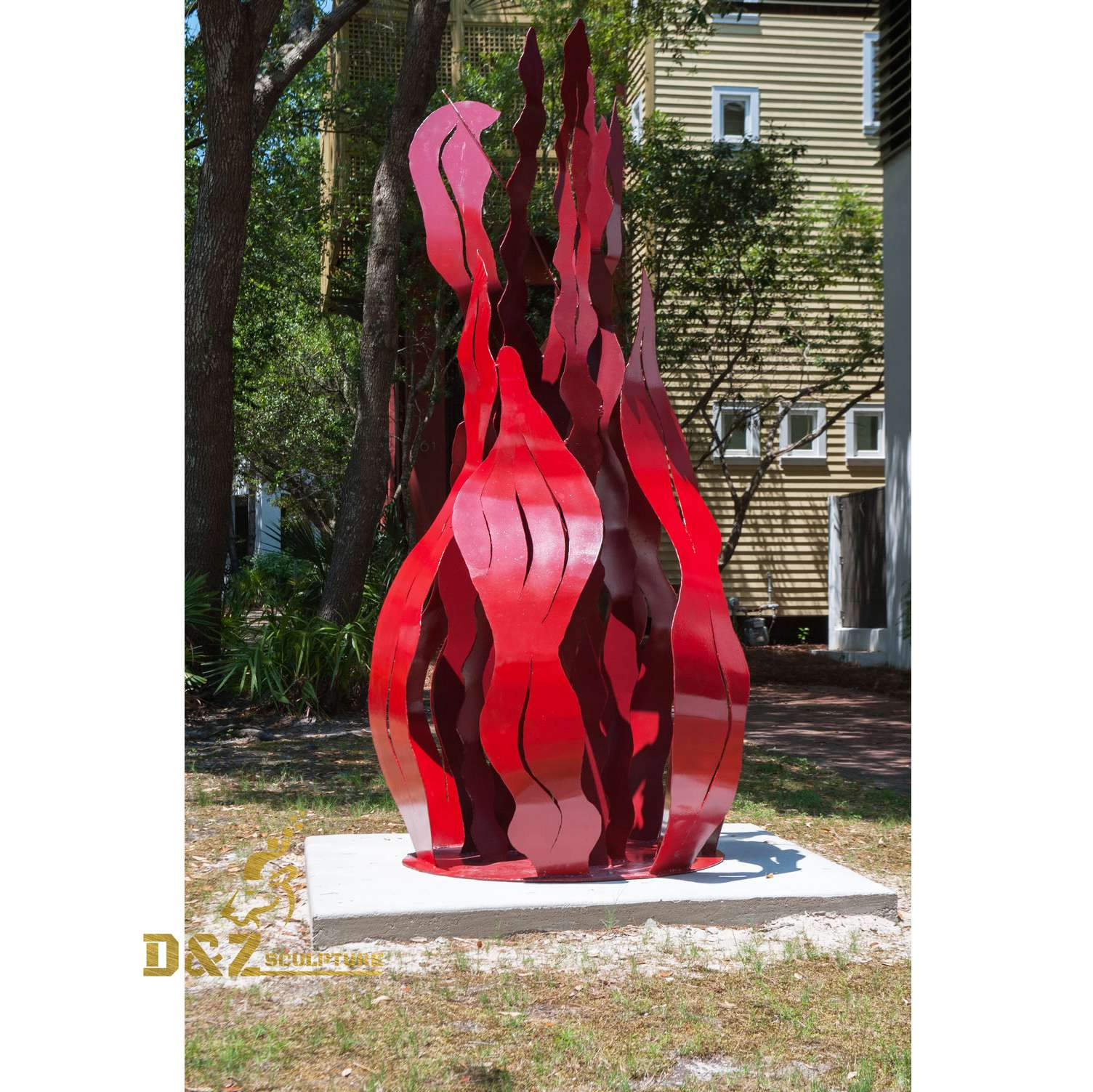 garden red flame sculpture