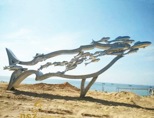 Stainless steel fish sculpture
