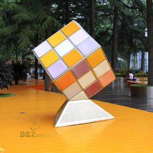Indoor rubik cube sculpture