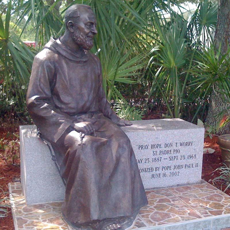 bronze Padre Pio statue