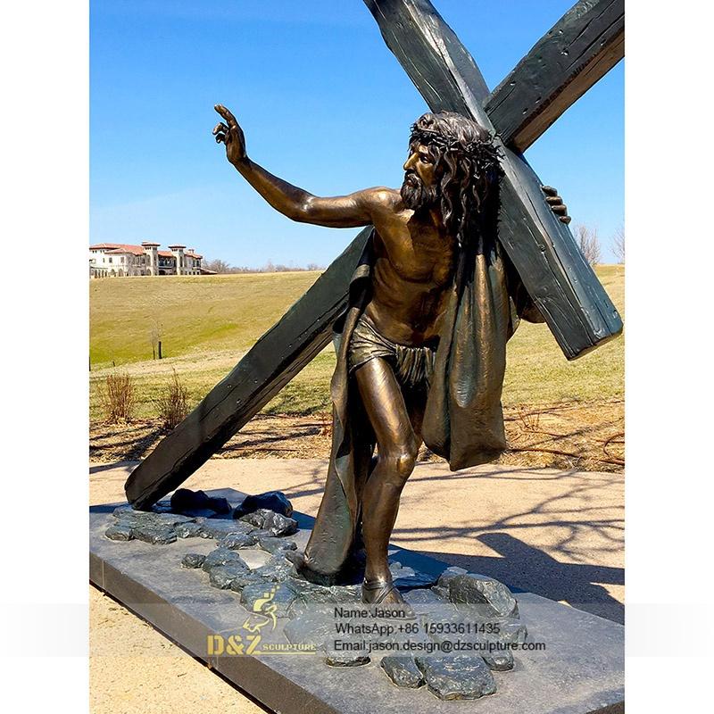 Toppling jesus statue
