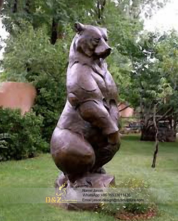 Vivid standing bear bronze