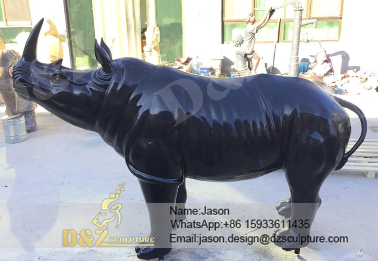 Black rhinoceros sculpture