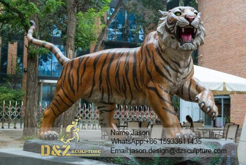 Outdoor tiger sculpture