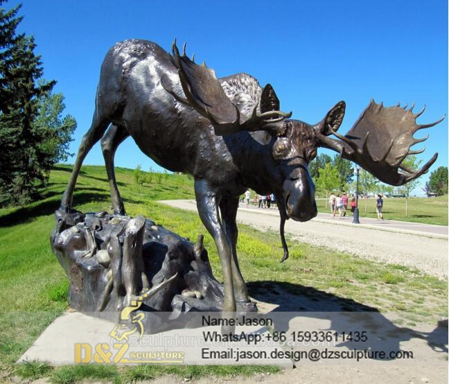 Outdoor moose sculpture