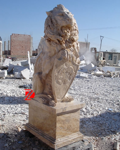 Egypt cream marble lion sculpture