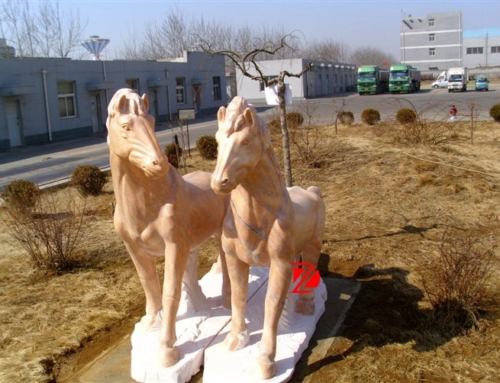Couple marble horse statue