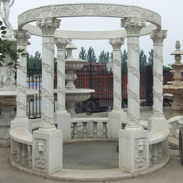 White marble gazebos sculpture