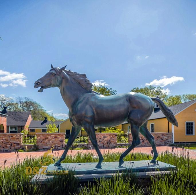 Large bronze horse sculpture