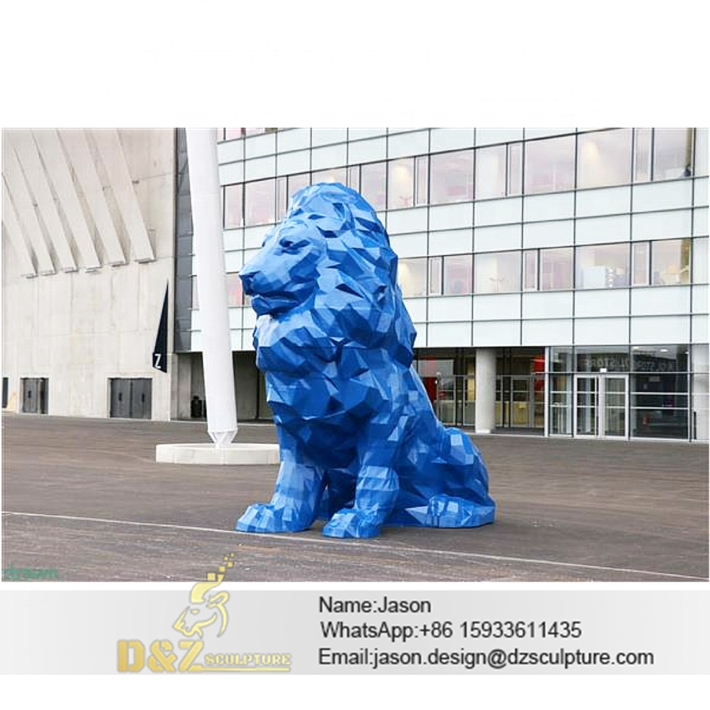 Blue lion sculpture
