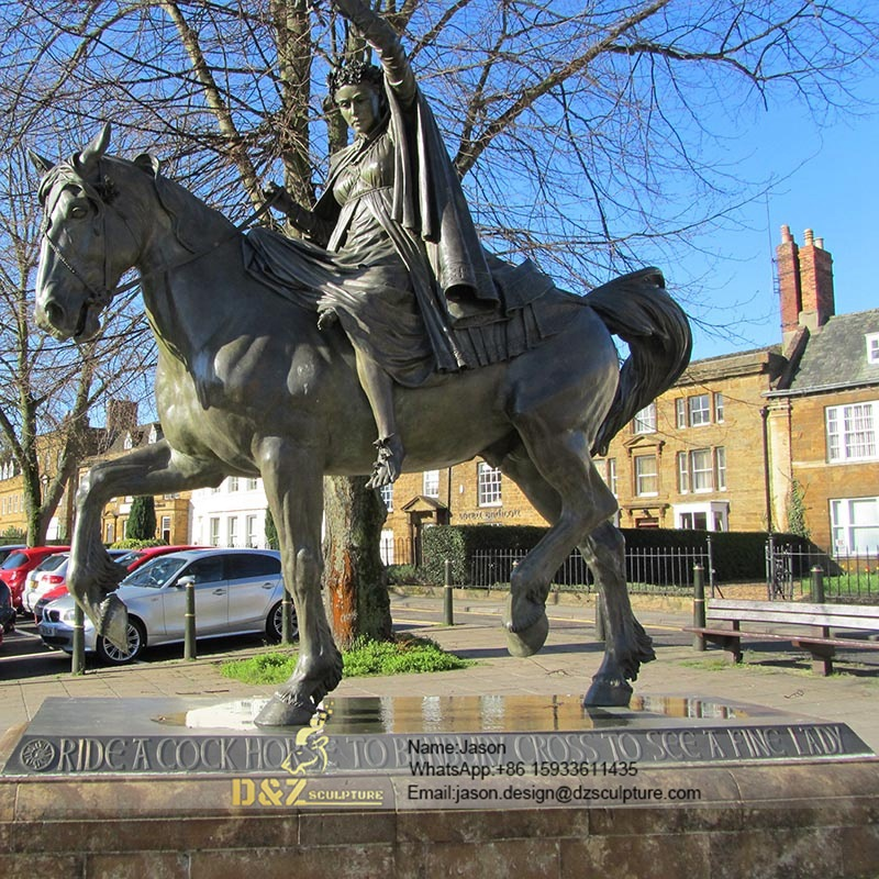 Bronze statue man riding horse