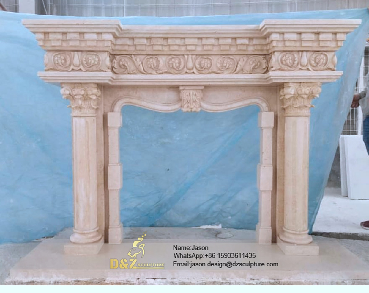 Granite arch fireplace