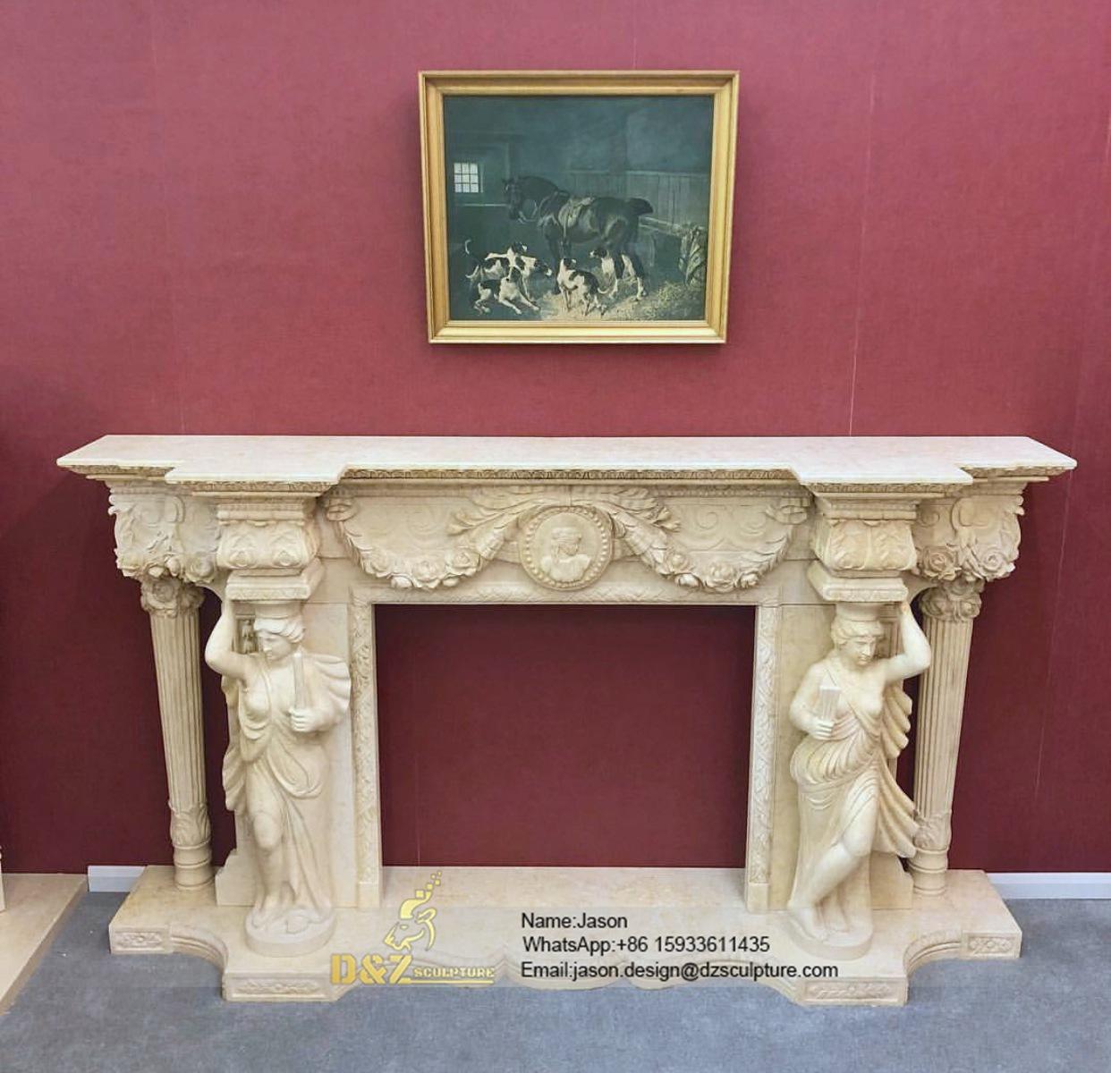 The stone veneer fireplace