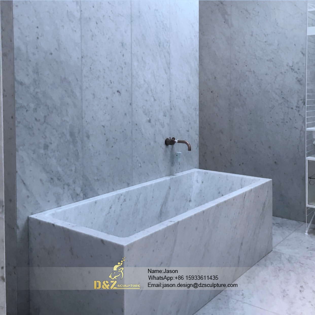 Artificial stone square bathtub