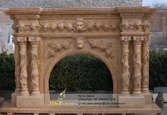 Stone wood fireplace frame